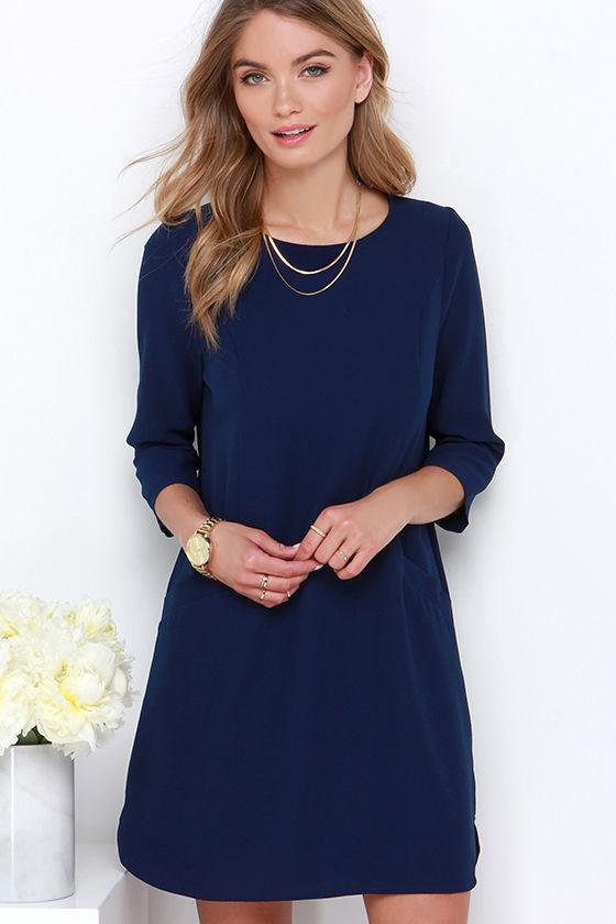 Jack by BB Dakota Dee - Shift Dress - Navy Blue Dress - $59.00