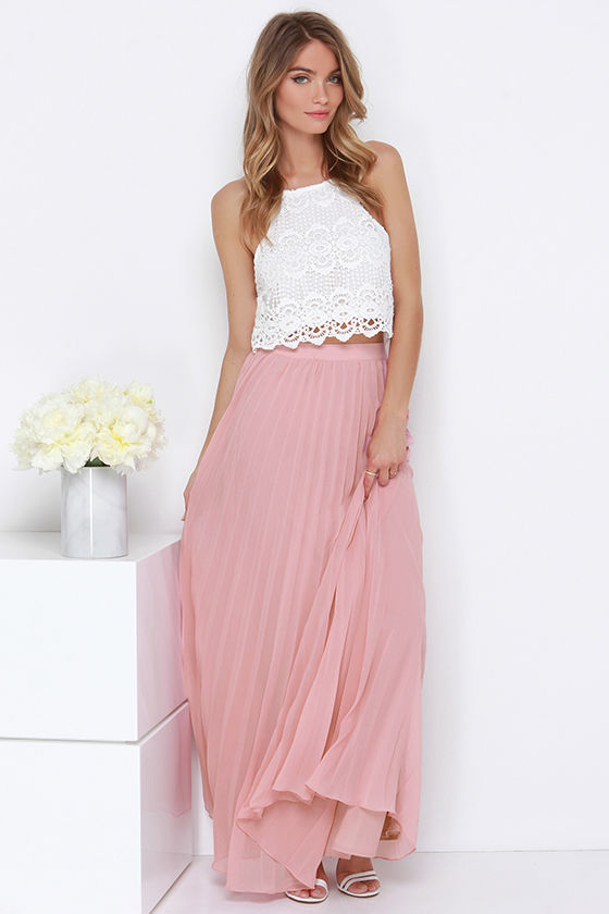 Blush Skirt - Pleated Skirt - Maxi Skirt - $64.00