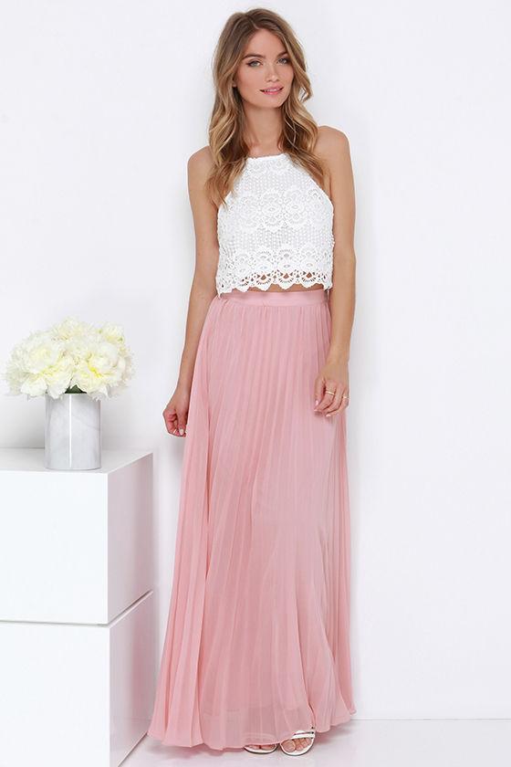 blush skirt pleated skirt maxi skirt 64 00