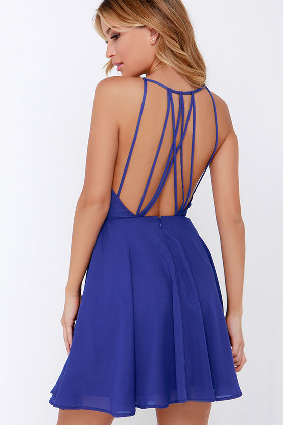 Chic Royal Blue Dress - Backless Dress - Fit and Flare Dress - $47.00
