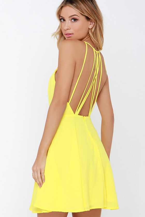 7a7760cde25 Chic Yellow Dress - Backless Dress - Fit and Flare Dress -  47.00