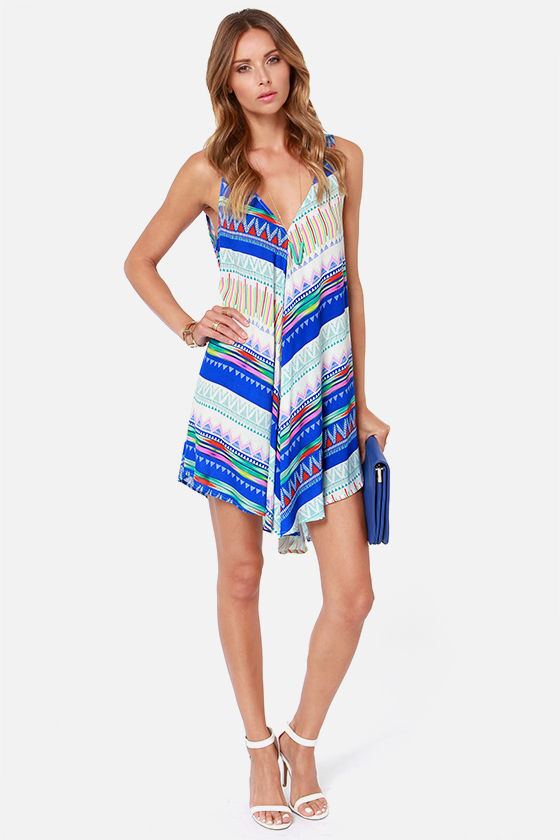 Swing in Your Step Blue Print Dress at Lulus.com!