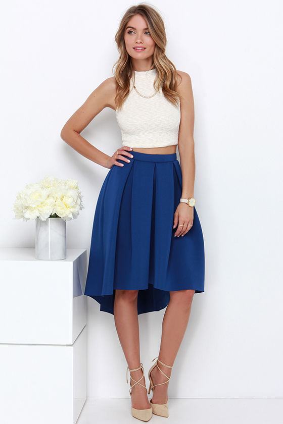 Royal Blue Midi Skirt - High-Low Skirt - High-Waisted Skirt - $42.00