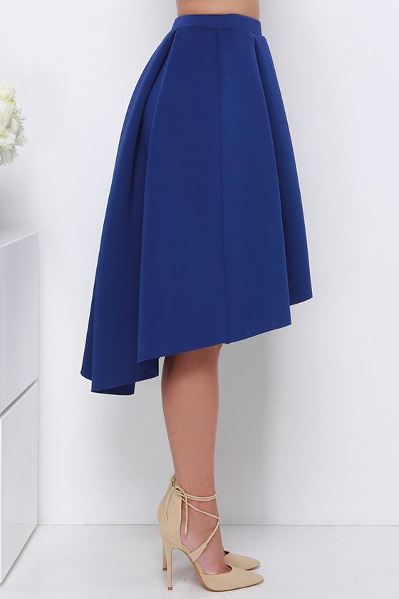 royal blue midi skirt high low skirt high waisted