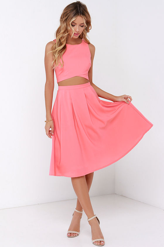 Cute coral two piece dress midi two piece dress for Jewelry to wear with coral dress
