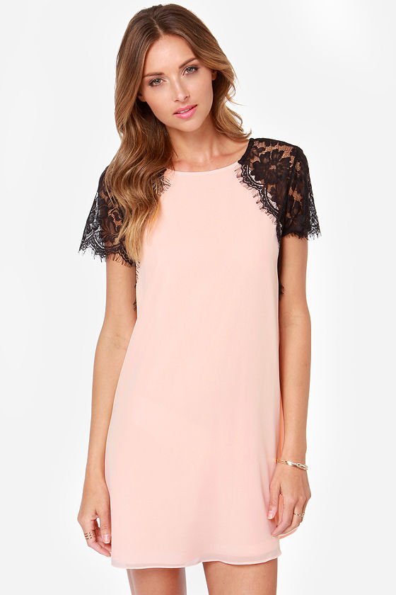 TFNC Lava Black and Peach Lace Dress at Lulus.com!