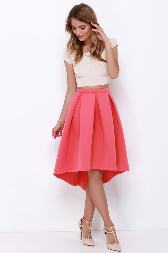 Coral Midi Skirt - High-Low Skirt - High-Waisted Skirt - $42.00