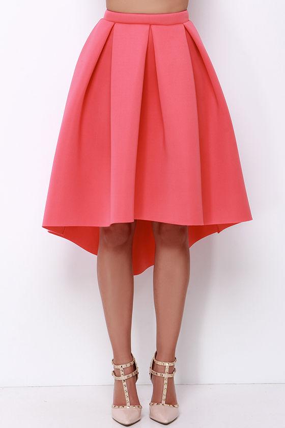Coral Midi Skirt - High-Low Skirt - High-Waisted Skirt - $42.00