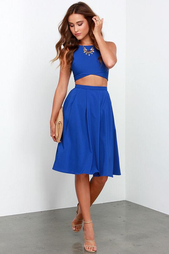 29a11e5e9fa9 Cute Royal Blue Two-Piece Dress - Midi Two-Piece Dress -  75.00