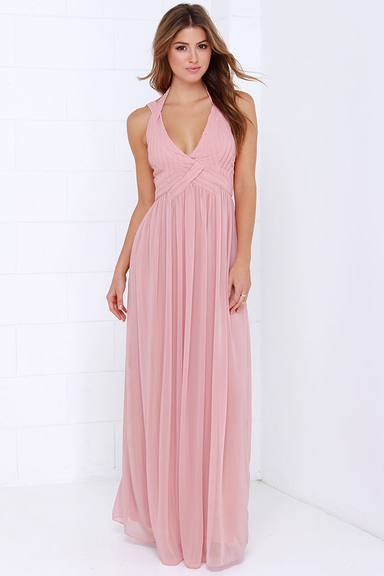 Maxi Dress - Backless Dress - Dusty Pink Dress - $88.00