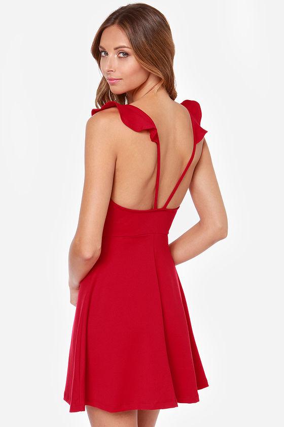 Sexy Red Dress - Little Red Dress - Skater Dress - $36.00