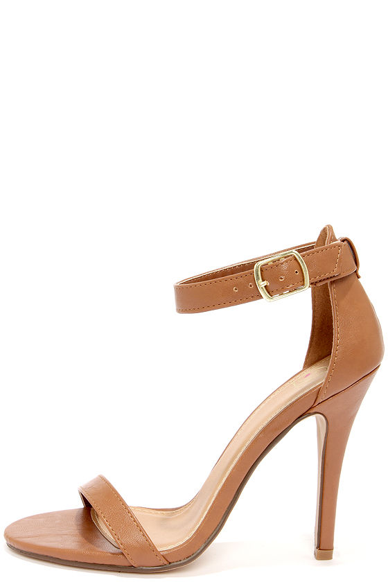 Sexy Tan Heels - Single Strap Heels - Ankle Strap Heels- $23.00