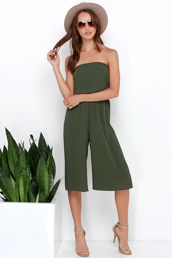 f8f892326fbd Culotte Jumpsuit - Olive Green Jumpsuit - Strapless Jumpsuit