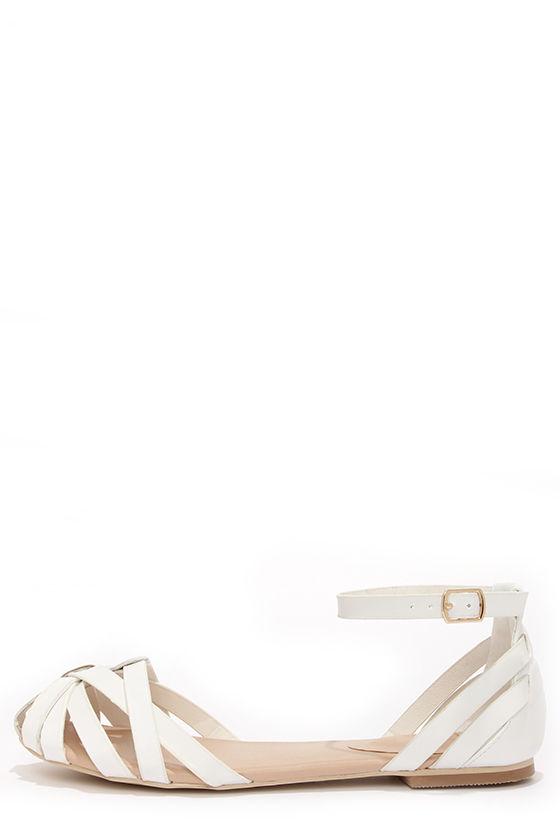 Cute White Sandals - Flat Sandals -  30.00