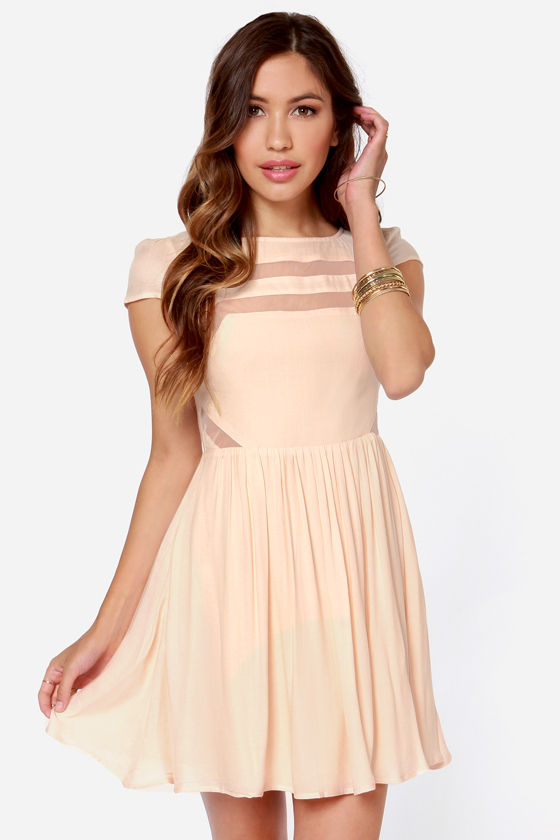 Ladakh Moondance Cutout Light Peach Dress at Lulus.com!