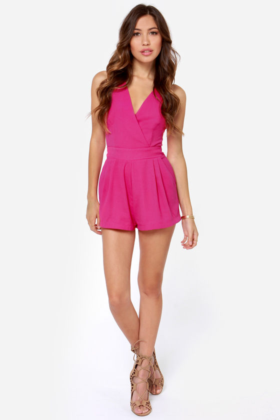 LULUS Exclusive Say the Word Magenta Romper at Lulus.com!