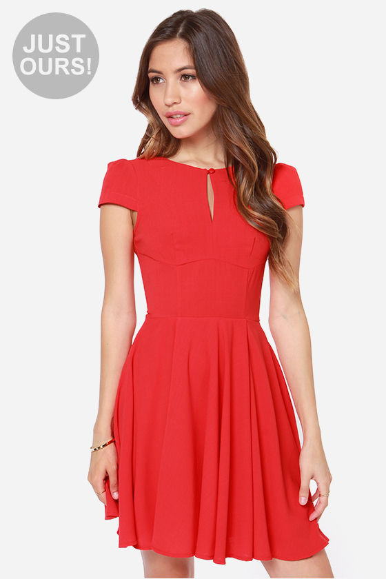 Cute Red Dress - Skater Dress - $47