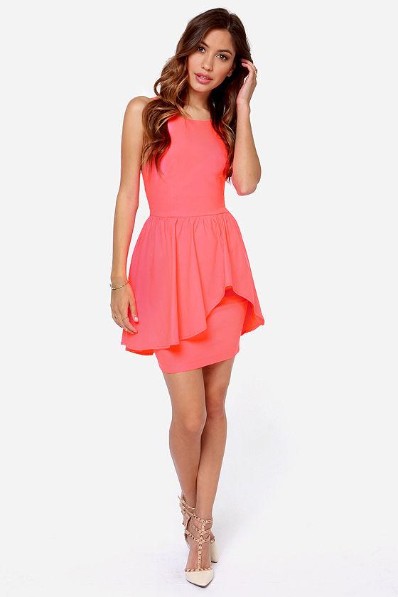 Pretty Coral Dress - Neon Dress - Cocktail Dress - $39.00