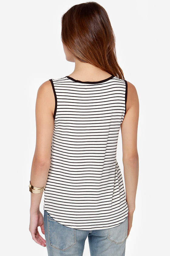 Olive & Oak Say Yes Black and Ivory Striped Top at Lulus.com!