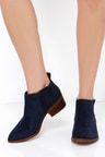 Cute Suede Ankle Boots Suede Booties Navy Blue Booties 8000
