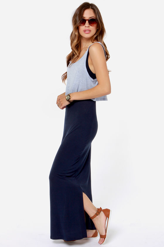 Olive & Oak From the Top Light Blue and Navy Blue Maxi Dress at Lulus.com!