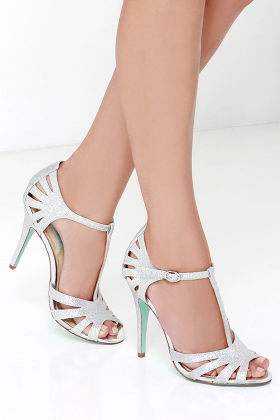 a59ec039d26 Pretty Dress Sandals - Glitter Shoes - Silver Heels -  69.00