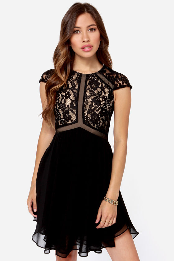 Lumier Vanity Flare Black Lace Dress at Lulus.com!