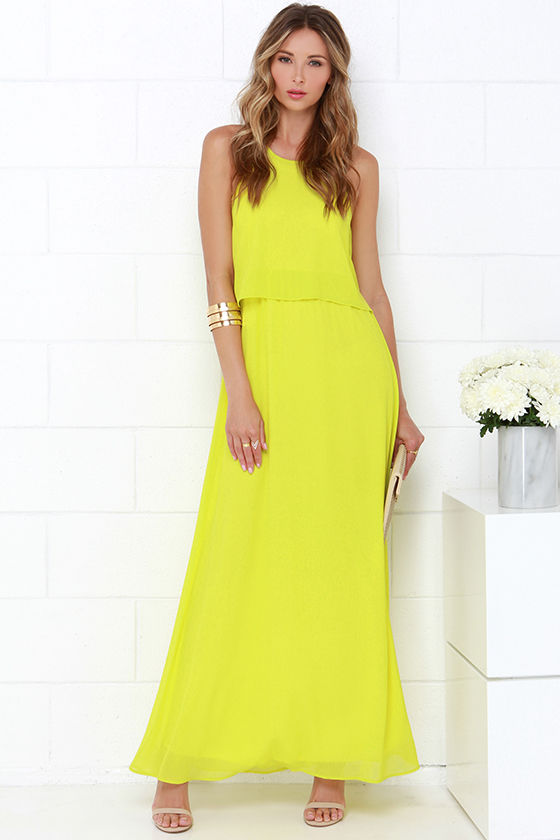 Lovely Chartreuse Dress - Maxi Dress - $54.00