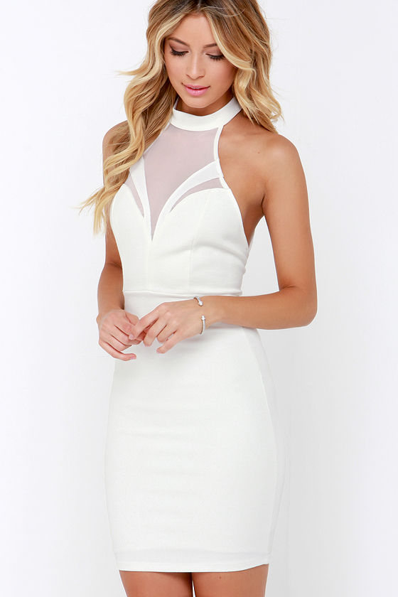 Mesh Dress - Ivory Dress - Bodycon Dress - White Dress - $54.00