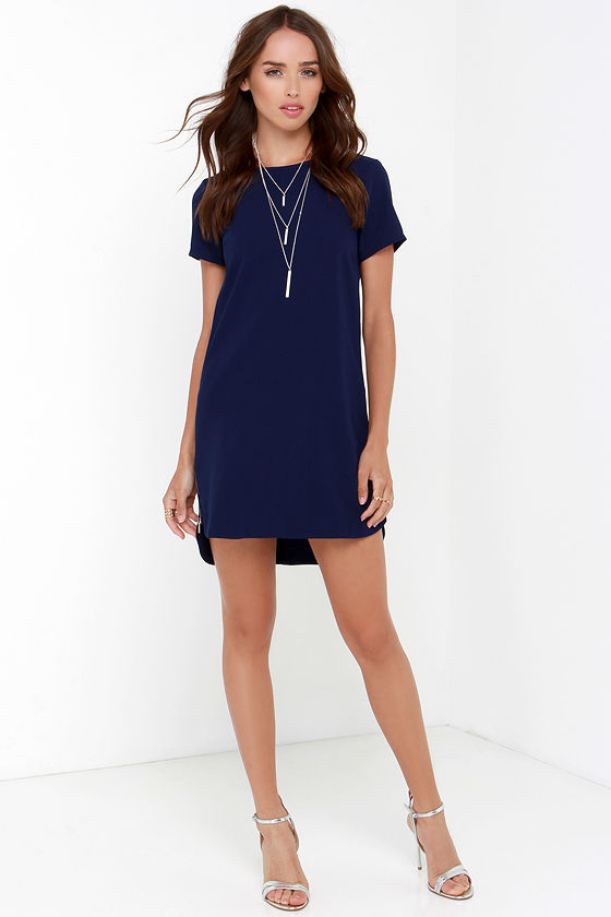 Navy Blue Dress - Shift Dress - Short Sleeve Dress - $48.00
