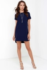 Navy Blue Dress - Shift Dress - Short Sleeve Dress -  48.00 6062f2e8b