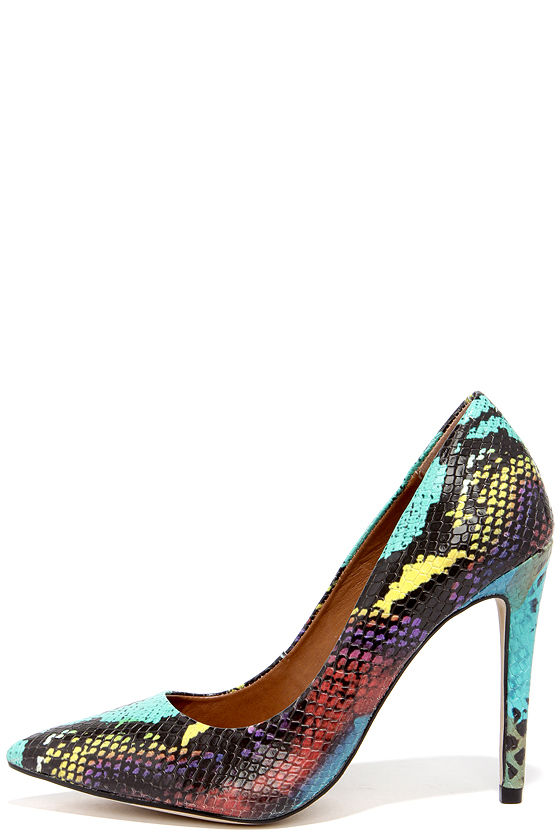 Cute Multi Snakeskin Pumps Pointed Pumps Snakeskin Heels