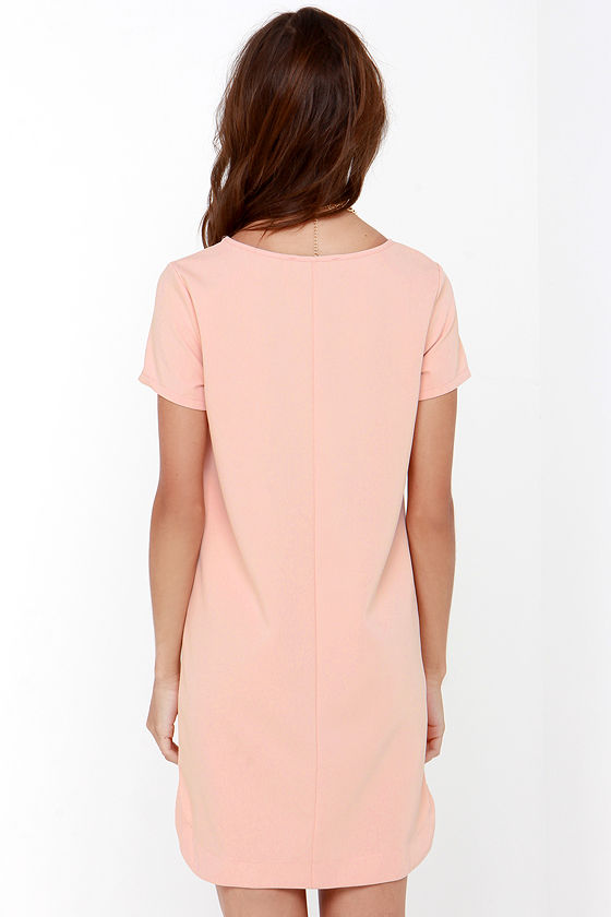 Blush Dress - Shift Dress - Short Sleeve Dress -  48.00 2647f2997