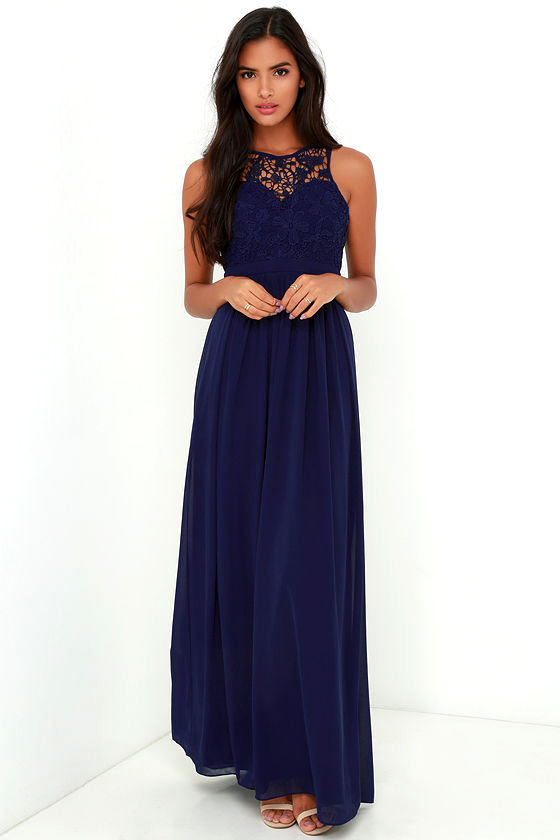 So Far Gown Navy Blue Lace Maxi Dress