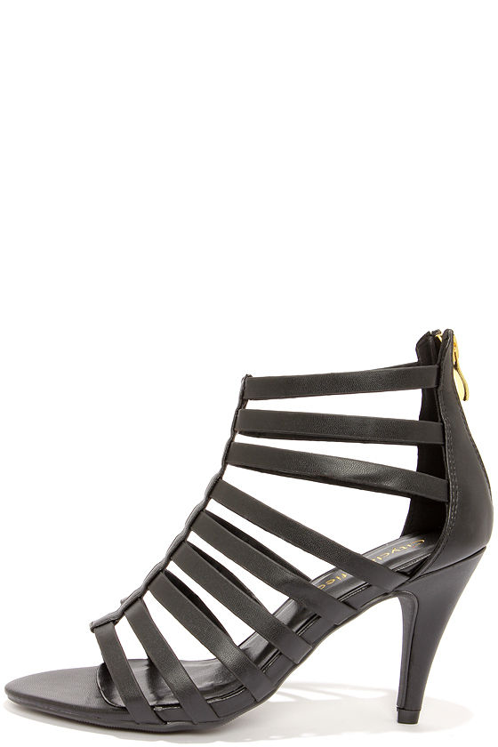 City Classified Expose Black Peep Toe Caged Heels at Lulus.com!