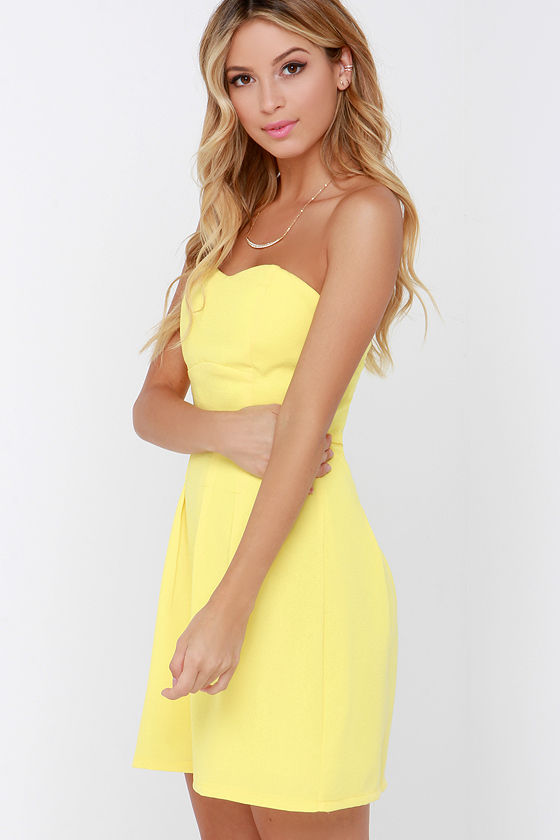 Yellow Dress - Strapless Dress - $39.00