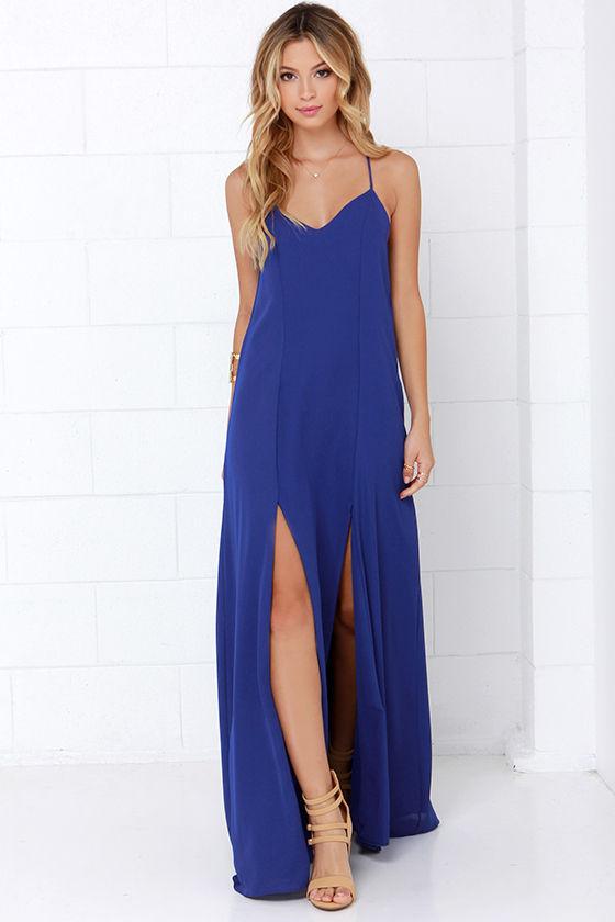 Royal Blue Dress - Maxi Dress - $48.00