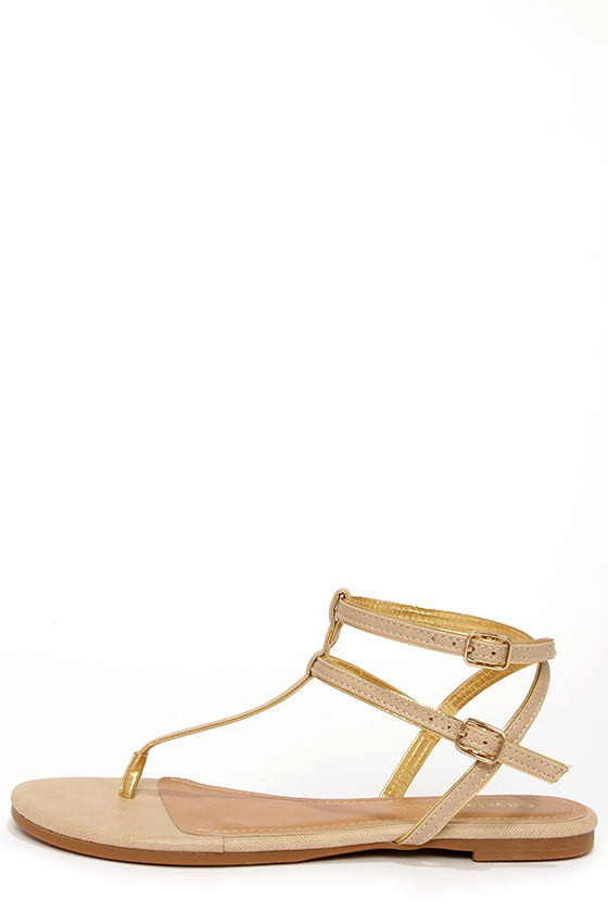 City Classified Daren Beige and Gold Ankle Strap Thong Sandals at Lulus.com!