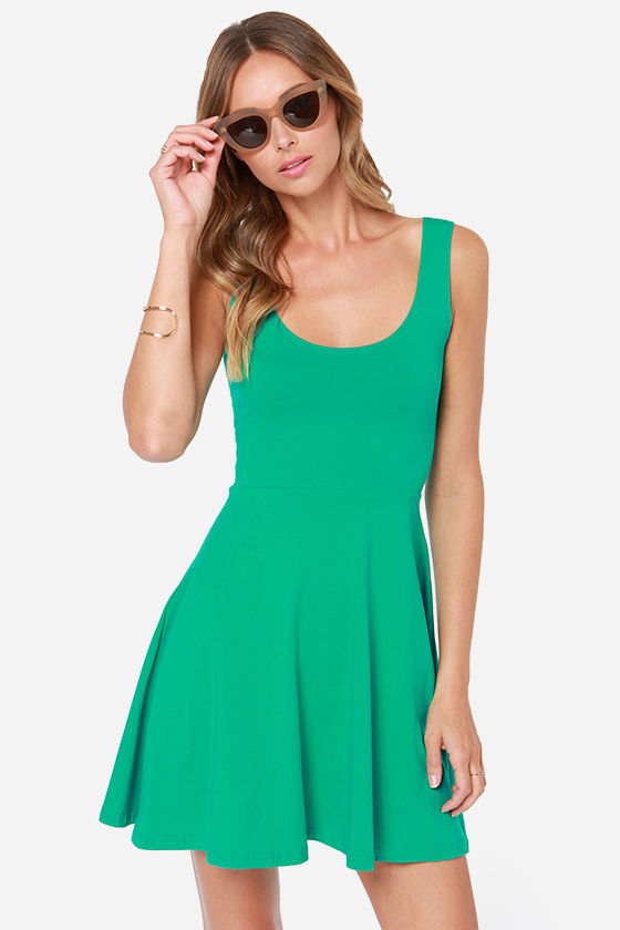 Cute Green Dress - Sleeveless Dress - Skater Dress - $26.00
