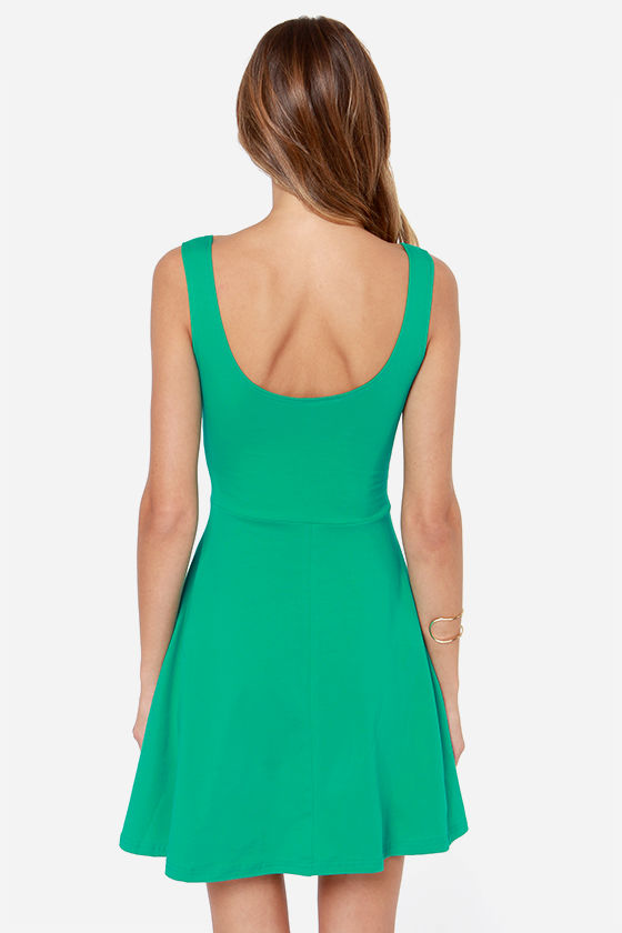 Devil May Flare Green Dress at Lulus.com!