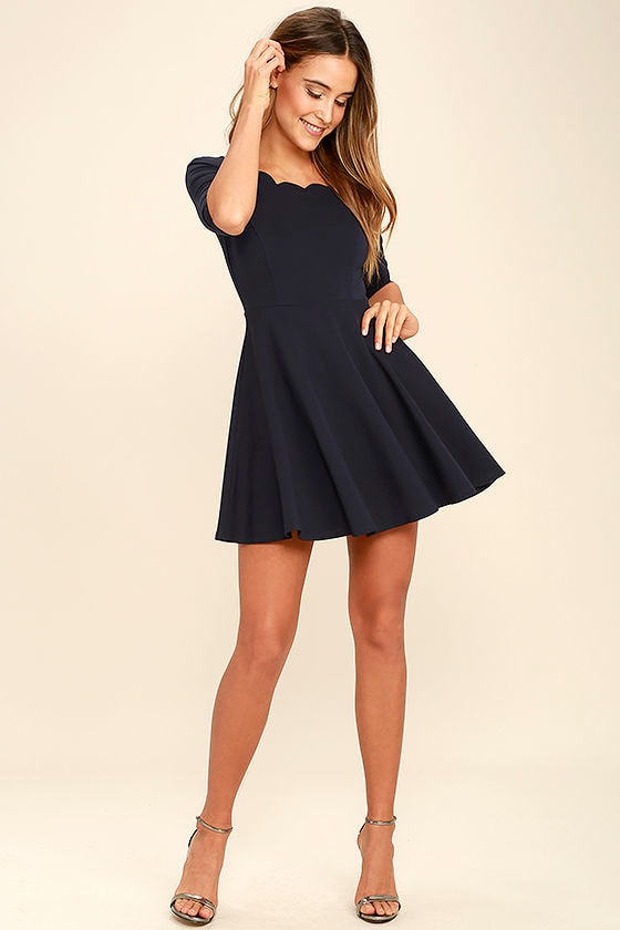 LULUS Exclusive Tip the Scallops Navy Blue Dress at Lulus.com!