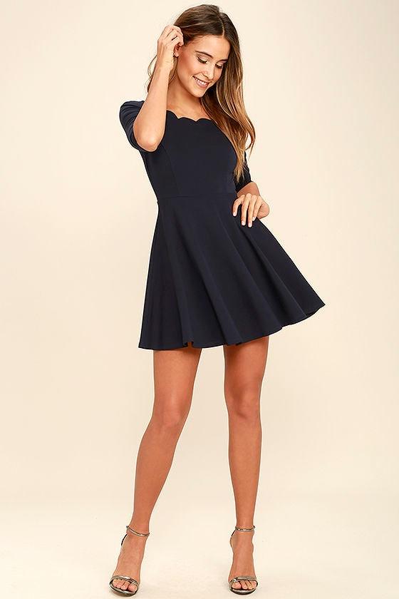 Cute Navy Blue Dress - Scalloped Dress - Skater Dress - $46.00 - photo #7