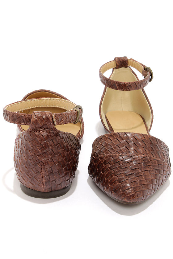 City Classified Merced Brown Basket Weave Pointed Flats at Lulus.com!