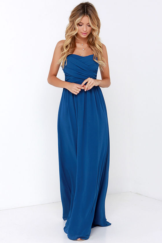 Pretty Cobalt Blue Maxi Dress - Strapless Dress - Maxi Dress - $68.00