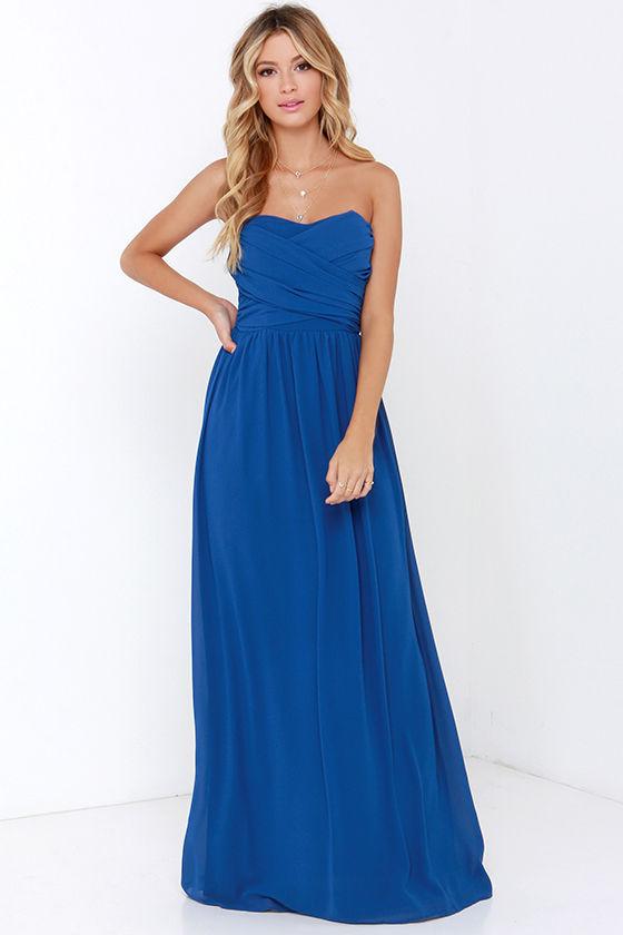 525c4163d3e Pretty Cobalt Blue Maxi Dress - Strapless Dress - Maxi Dress -  68.00