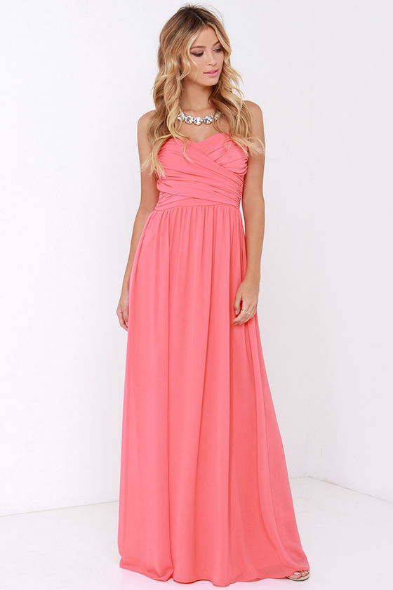 Lovely Coral Pink Dress - Strapless Dress - Maxi Dress - $68.00
