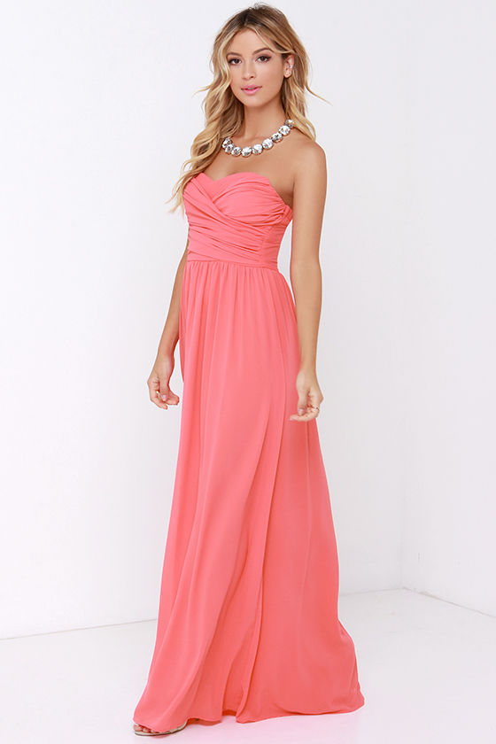 Lovely Coral Pink Dress - Strapless Dress - Maxi Dress - $68.00
