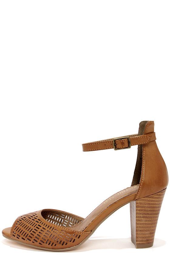 Cute Tan Heels - Laser Cut Heels - Ankle Strap Heels - $53.00