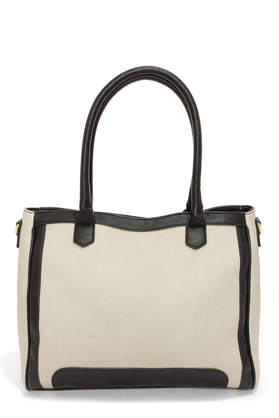 Steve Madden Bpreston Black and Light Taupe Tote at Lulus.com!