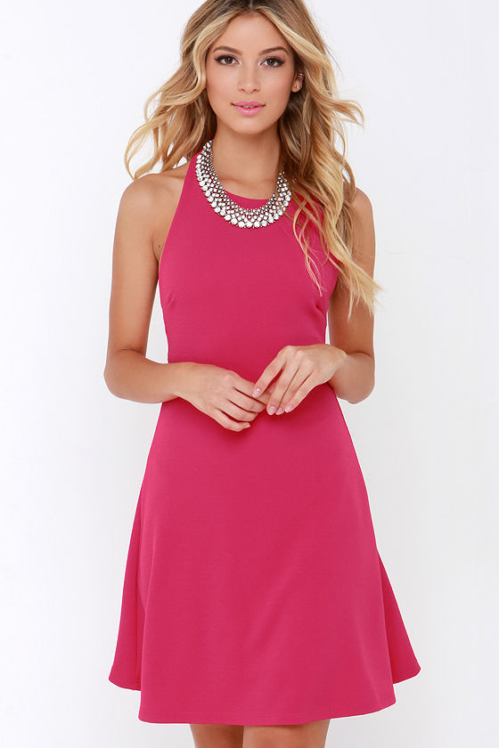 Cute Fuchsia Dress - Halter Dress - A-Line Dress - $38.00